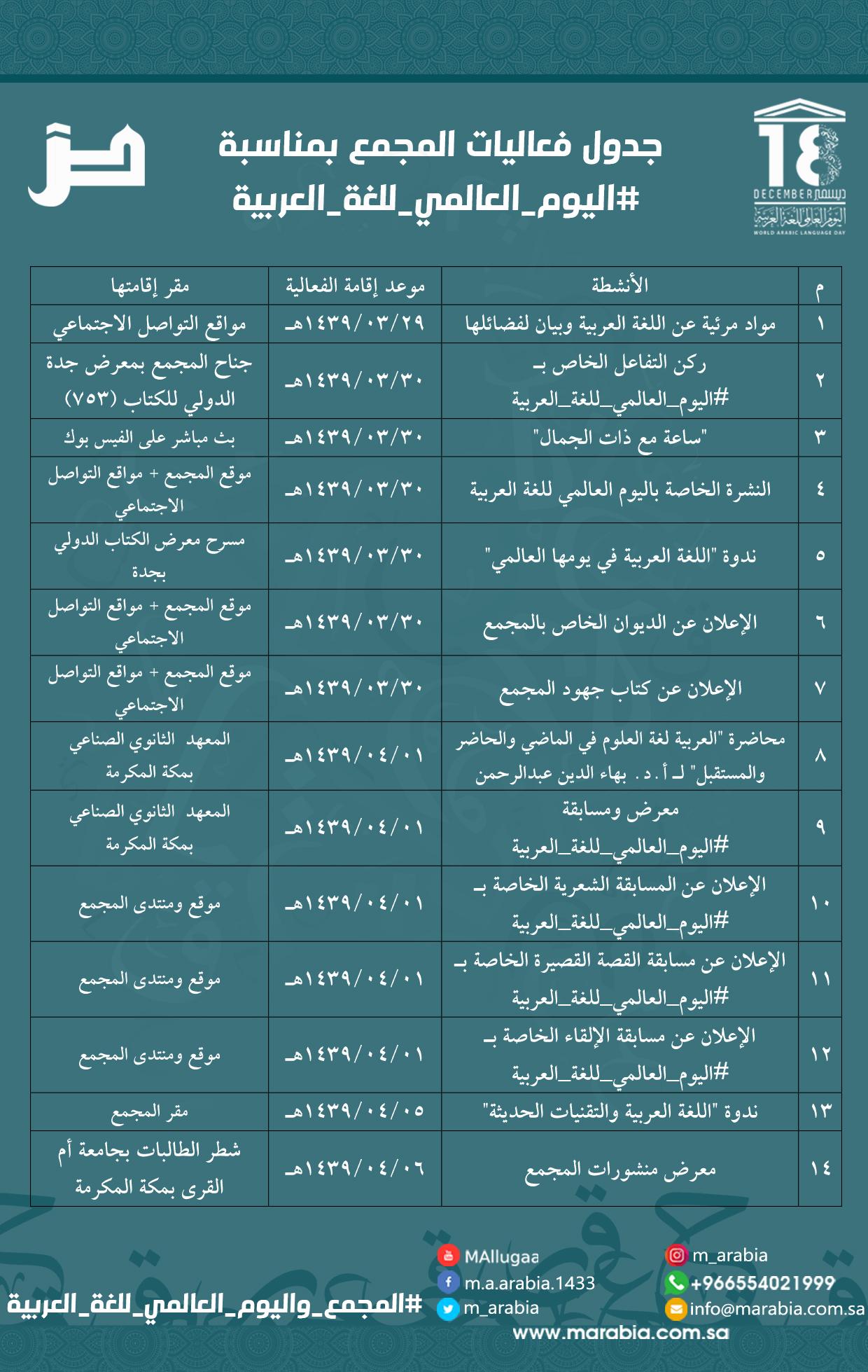 جدول الفعاليات بمناسبة اليوم العالمي للغة العربية